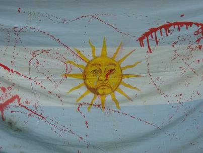 Blood-stained Argentinian Flag
